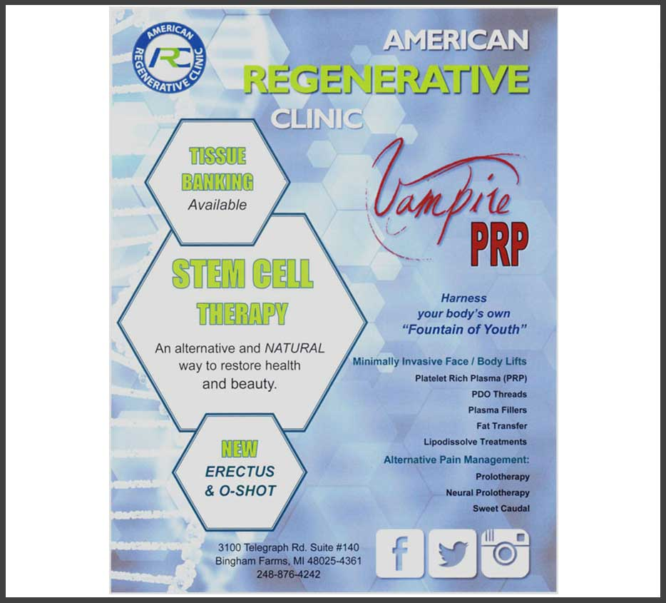 Flyer for a PRP treatment offered by clinic