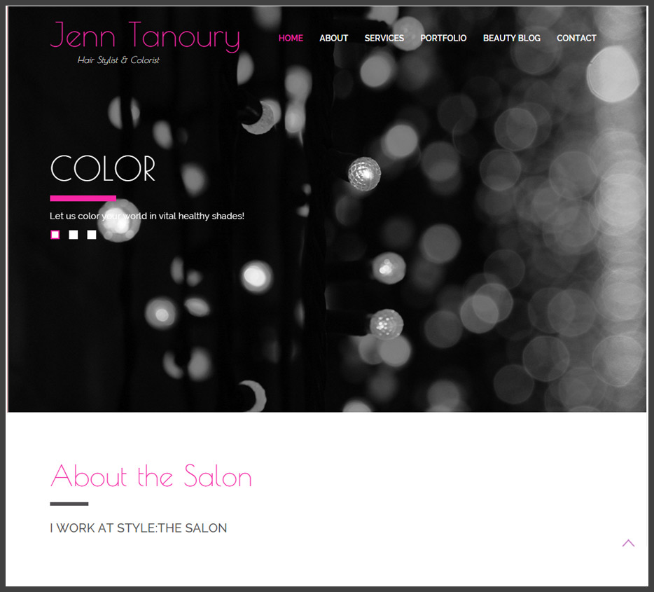 Hair Stylist Website Design Screenshot